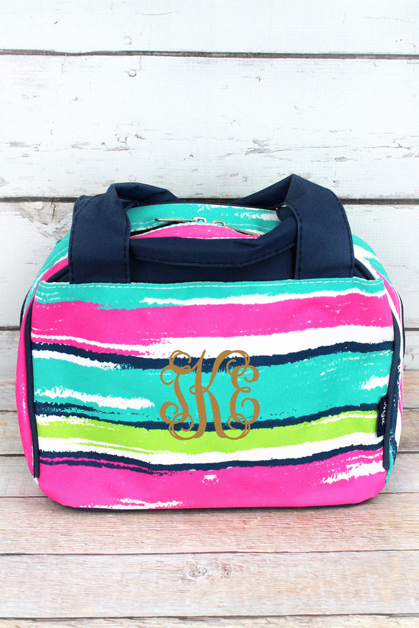 Caribbean Stripe Insulated Bowler Style Lunch Bag