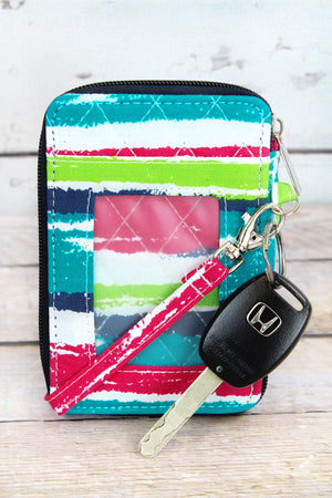 Caribbean Stripe Quilted Wristlet