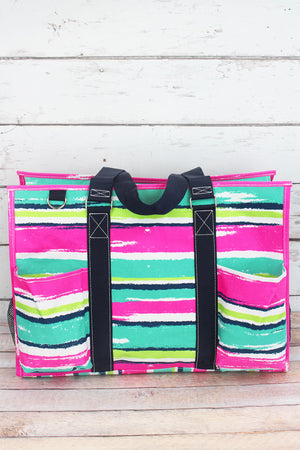 Caribbean Stripe with Navy Trim Large Organizer Tote