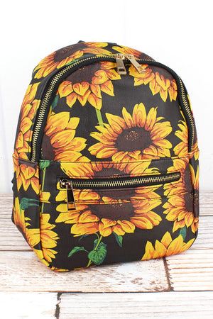 Sunflower Faux Leather Small Backpack