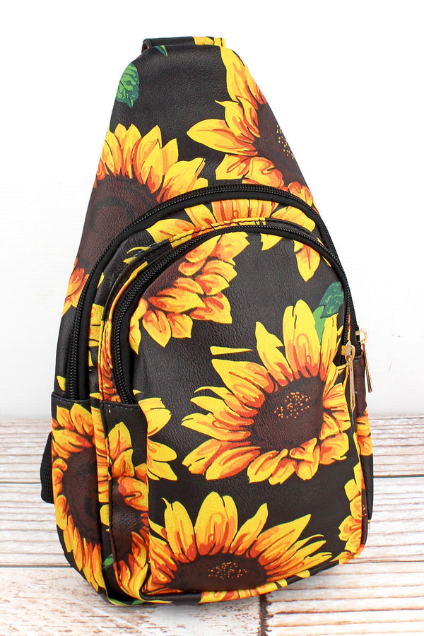 Sunflower Faux Leather Small Sling Backpack