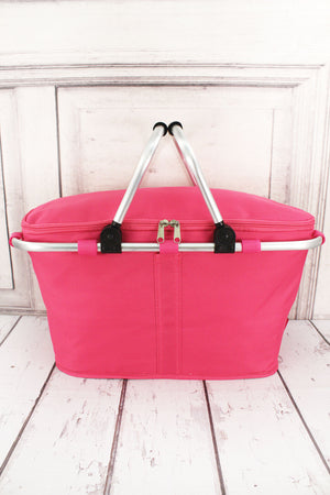Hot Pink Collapsible Insulated Market Basket with Lid