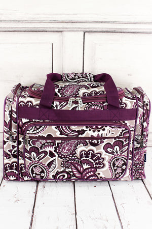Paisley Paradise Duffle Bag with Purple Trim 20""