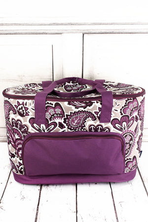 Paisley Paradise and Purple Cooler Tote with Lid