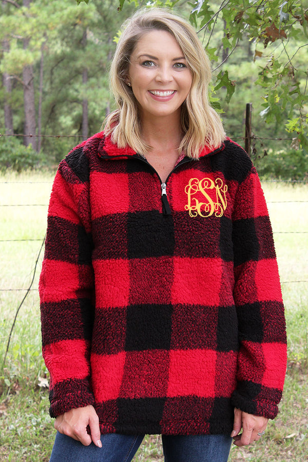 Boxercraft Red and Black Plaid Sherpa Quarter Zip Pullover