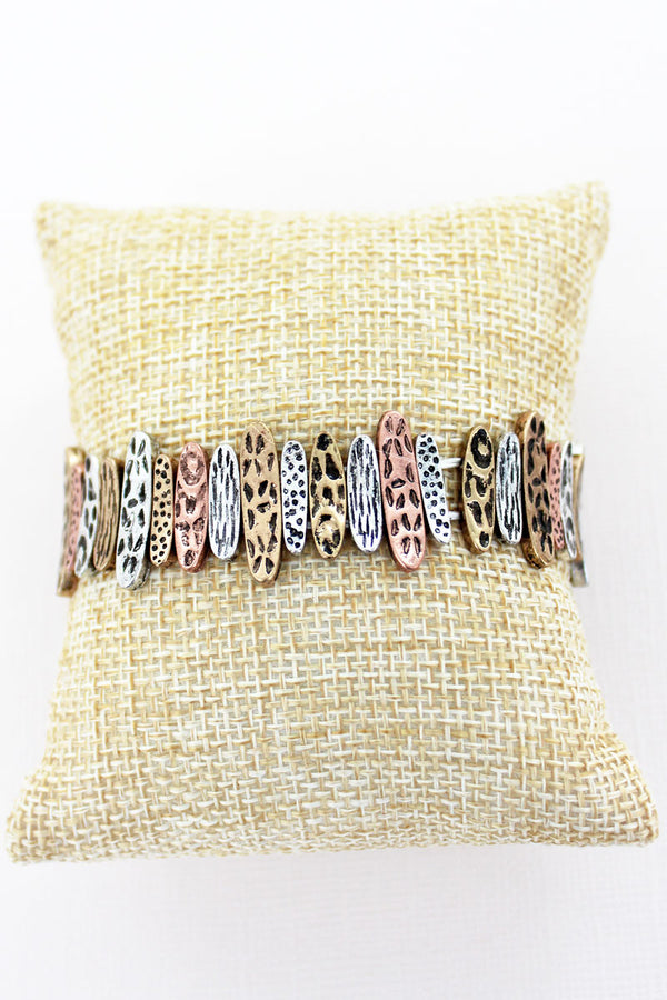 Burnished Tri-Tone Fence Stretch Bracelet