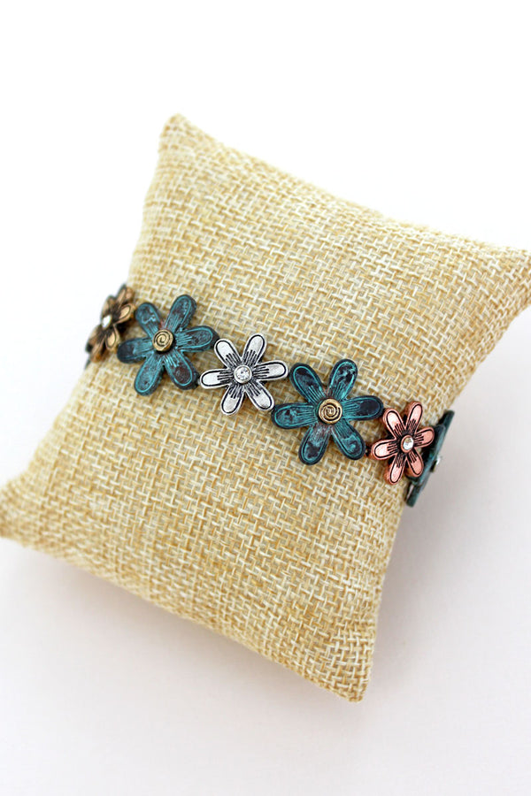 Burnished Tri-Tone and Patina Swirl Flower Stretch Bracelet
