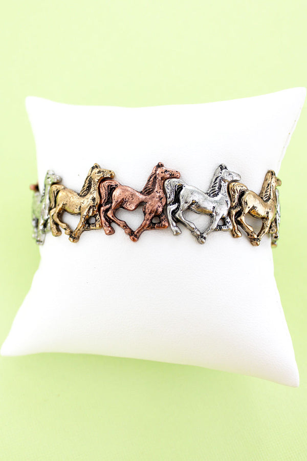 Burnished Tri-Tone Galloping Horse Stretch Bracelet