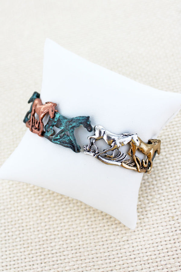 Burnished Tri-Tone and Patina Horse Stretch Bracelet