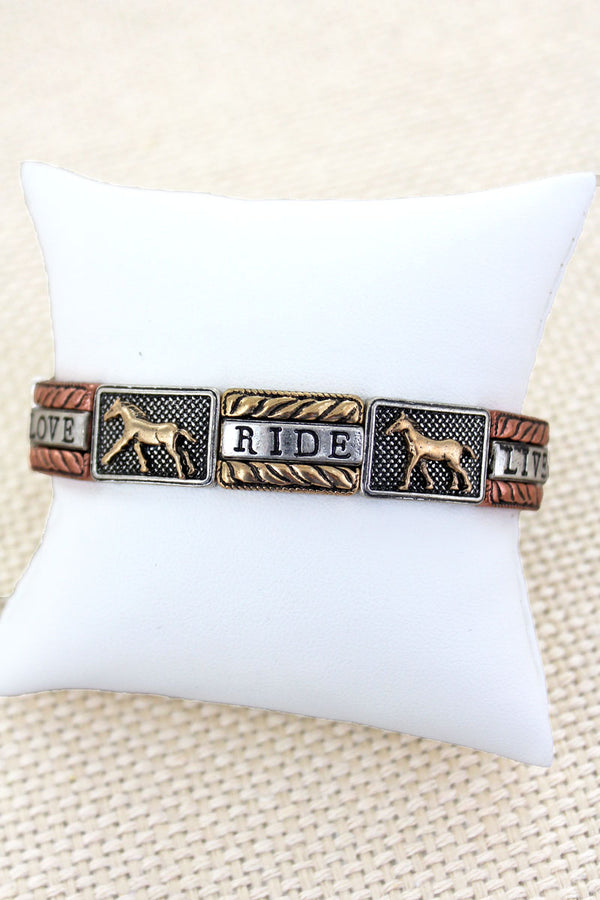 Burnished Tri-Tone 'Live Love Ride' Horse Stretch Bracelet