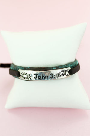 Patina and Silvertone 'John 3:16' Faux Leather Cord Cuff Slider Bracelet