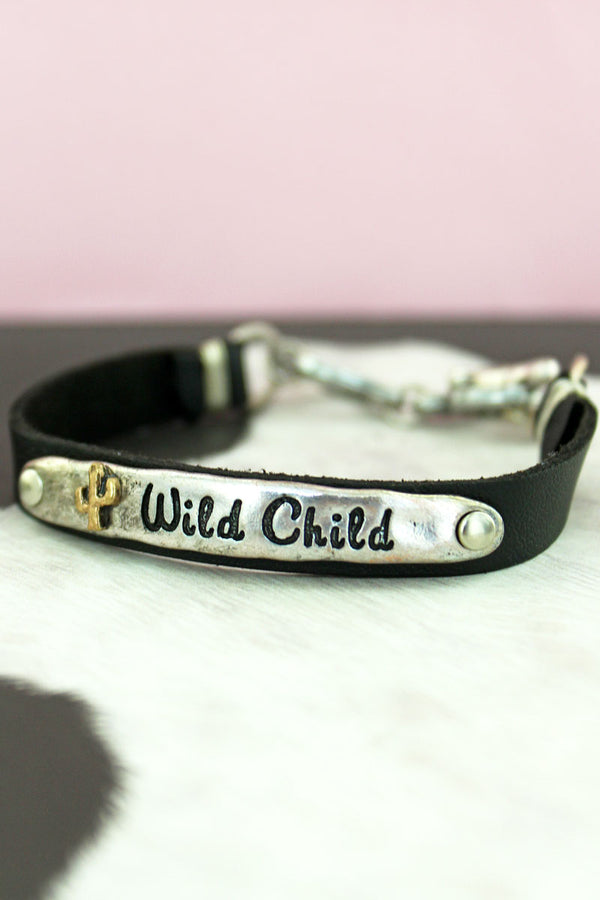 Burnished Silvertone 'Wild Child' Black Faux Leather Toggle Bracelet