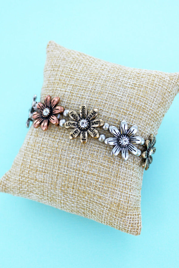 Burnished Tri-Tone Inspirational Flower Stretch Bracelet