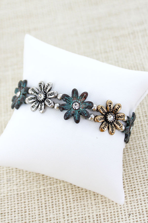 Burnished Tri-Tone and Patina Inspirational Flower Stretch Bracelet