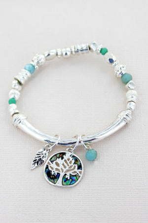 Silvertone with Abalone Tree Of Life Beaded Charm Bracelet