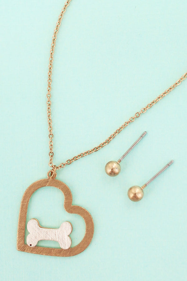 Worn Goldtone Scratched Heart and Dog Bone Necklace and Earrings Set