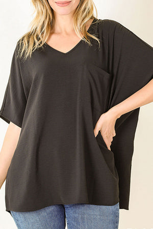 Black Crinkled V-Neck Dolman Pocket Top