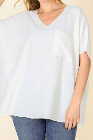 Ivory Crinkled V-Neck Dolman Pocket Top