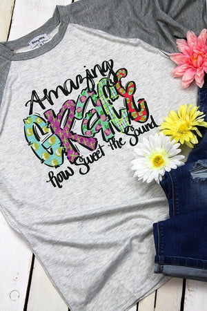 Amazing Grace Watercolor 3/4 Sleeve Raglan Tee