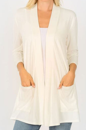 Ivory Slouchy Open Cardigan with Pockets