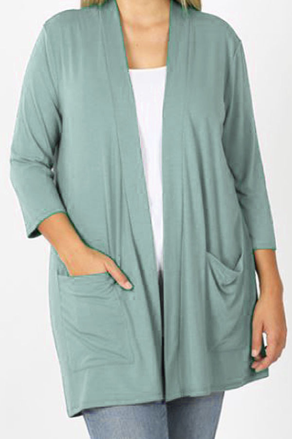 Plus Size Light Green Slouchy Open Cardigan with Pockets