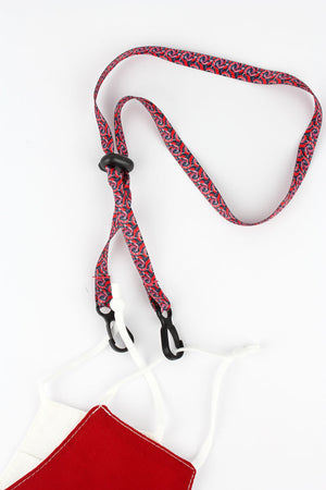 Black and Red Tie-Dye Face Mask Lanyard