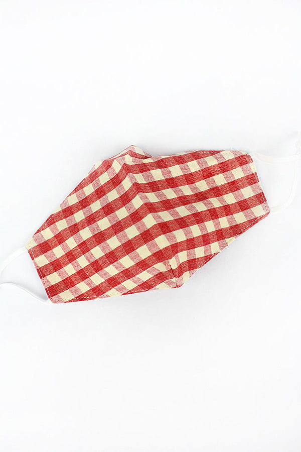 Red Gingham Two-Layer Fashion Face Mask with Filter Pocket
