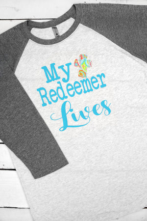 My Redeemer Lives Tri-Blend Unisex 3/4 Raglan