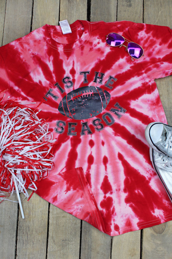 Tis' The Season Football Tie Dye Tee