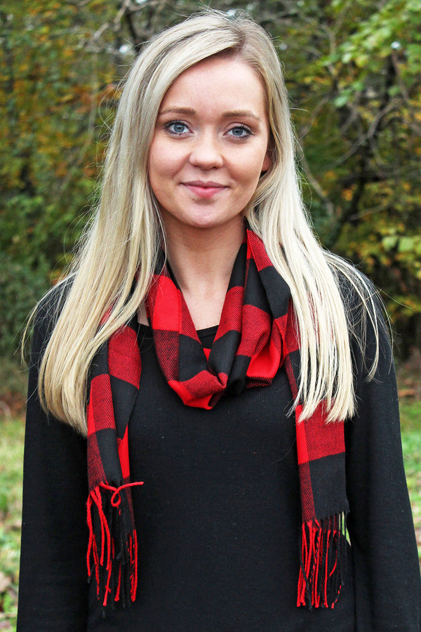 Red and Black Buffalo Plaid Scarf