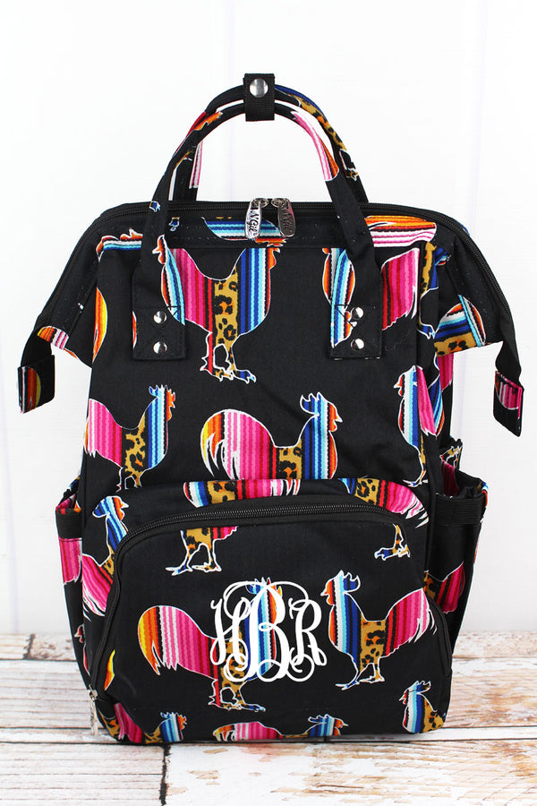 Wild Serape Roosters Diaper Bag Backpack