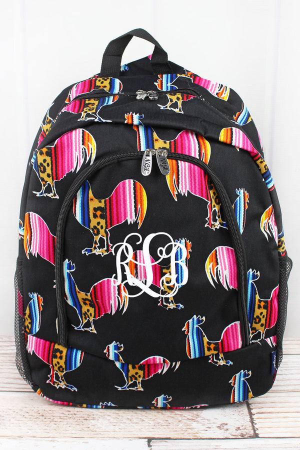 Wild Serape Roosters Large Backpack