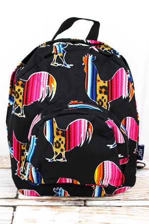 Wild Serape Roosters Small Backpack