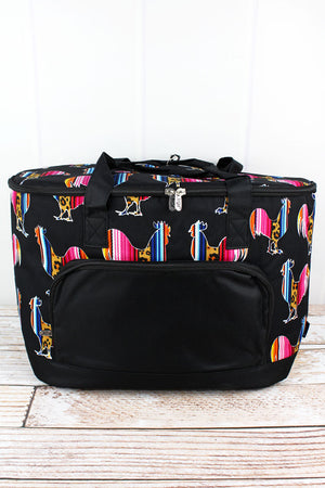 Wild Serape Roosters and Black Cooler Tote with Lid