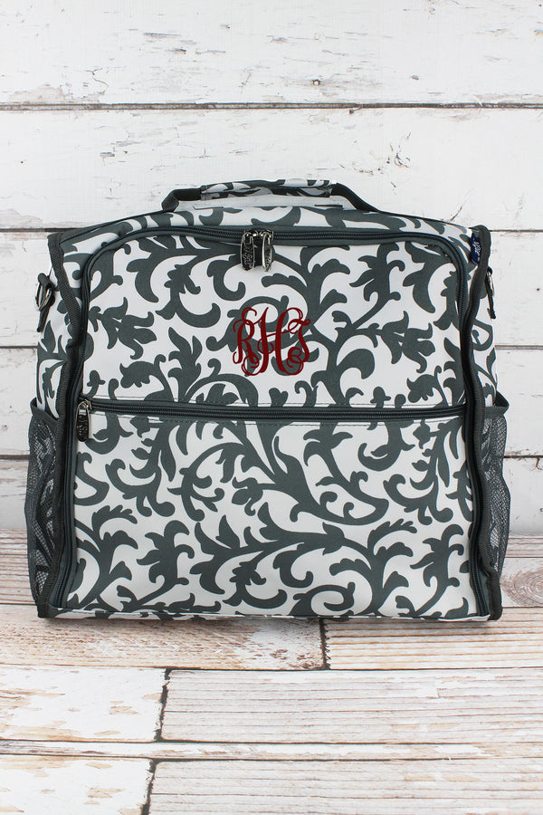 Gray Ivy Damask Diaper Backpack
