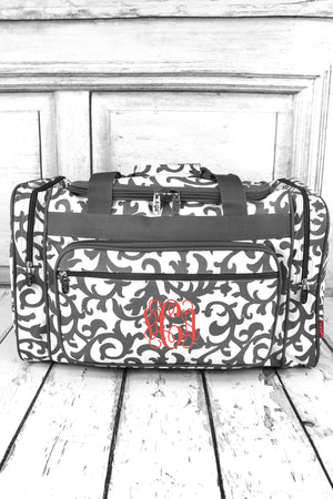 Gray Ivy Damask Duffle Bag 20""