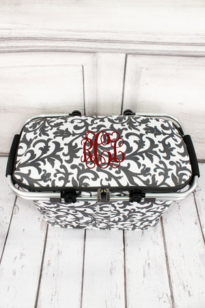 Gray Ivy Damask Collapsible Insulated Market Basket with Lid #RMK658-GRAY