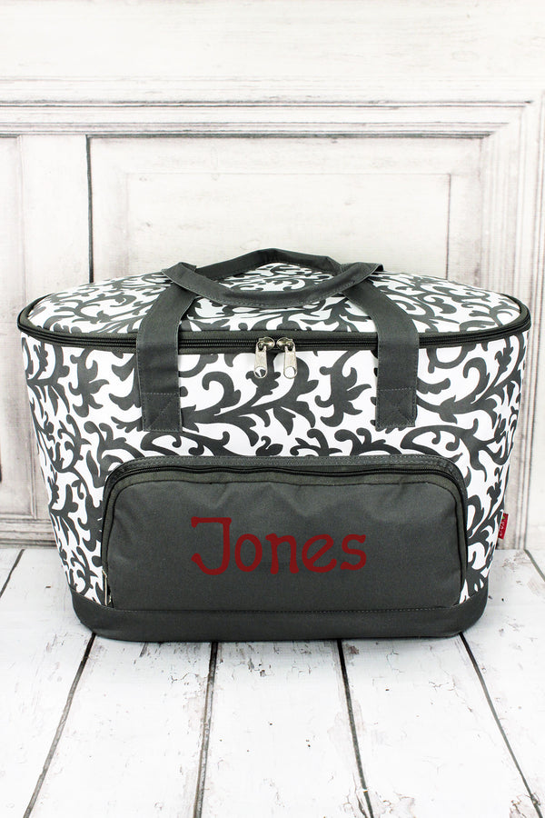 Gray Ivy Damask Cooler Tote with Lid #RMK89-GRAY
