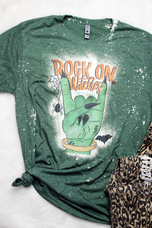 Bleached Rock On Witches Poly/Cotton Tee