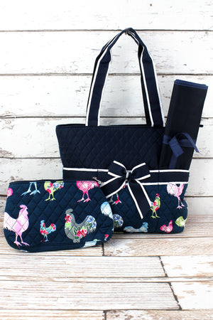 Rosy Roosters Quilted Diaper Bag with Navy Trim