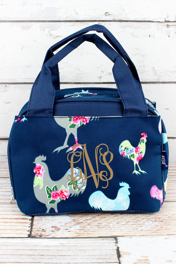 Rosy Roosters Insulated Bowler Style Lunch Bag