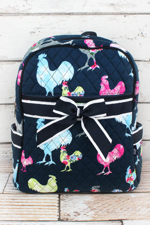 Rosy Roosters Quilted Backpack with Navy Trim