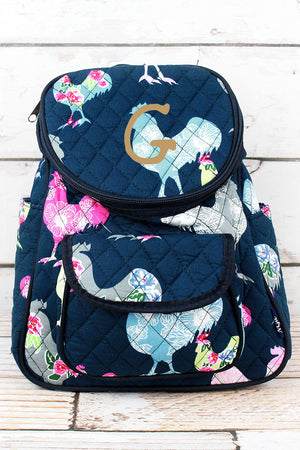 Rosy Roosters Quilted Petite Backpack