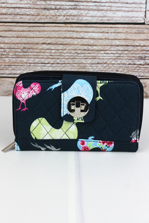 Rosy Roosters Quilted Organizer Clutch Wallet