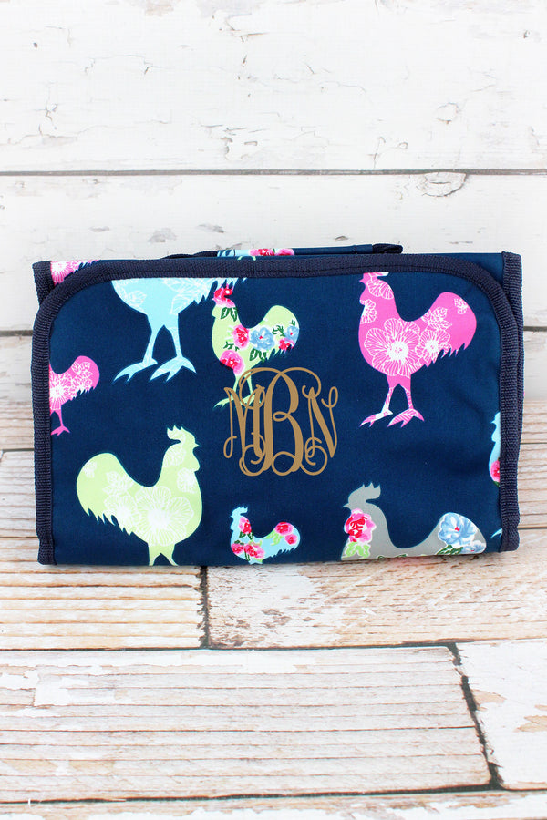 Rosy Roosters Roll Up Cosmetic Bag