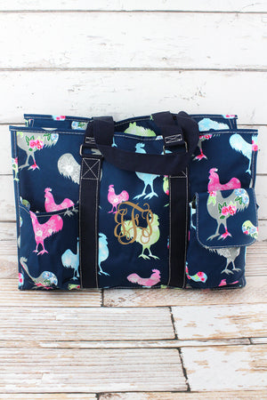 Rosy Roosters with Navy Trim Large Organizer Tote