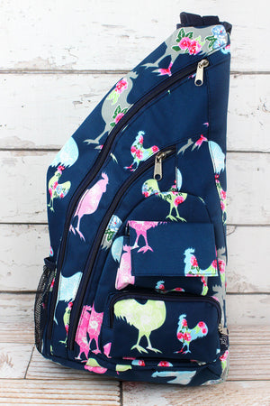 Rosy Roosters Sling Backpack