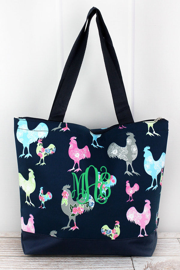 Rosy Roosters with Navy Trim Tote Bag