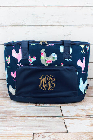 Rosy Roosters and Navy Cooler Tote with Lid