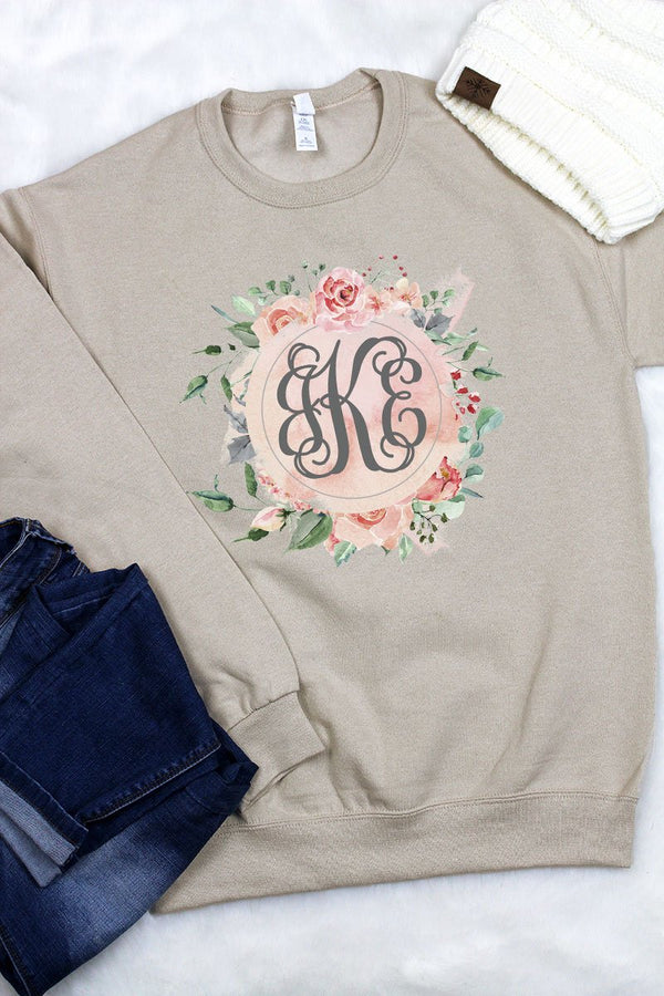 Peach and Rose Floral Monogram Unisex NuBlend Crew Sweatshirt